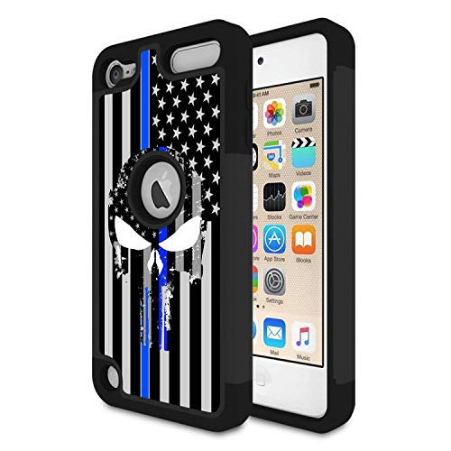 iPod Touch 7 Case, iPod Touch 6/5 Case,Rossy Heavy Duty Hybrid TPU Plastic Dual Layer Armor Defender Protection Case Cover for Apple iPod Touch 5th/6th/7th Gen,Thin Blue Line Police Skull (Generations Ipod Skull Case 5th)
