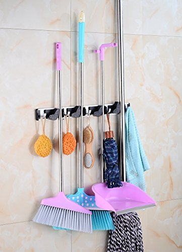XFOX Mop and Broom Holder Aluminum Alloy Wall Mounted with Towel Hooks for Kitchen, Closet, Garden, Garage and Shed Tools Organization (4 Position 5 Hooks)