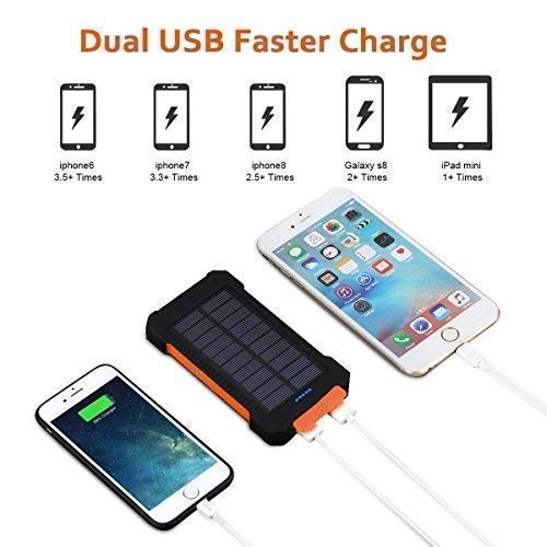newest collection b3e64 2a187 FLOUREON 10,000mAh Solar Power Bank Portable Solar Phone - Import It All