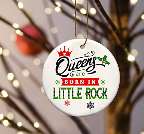 FamilyGift Christmas City Ornament - Queens are Born in Little Rock - Christmas Ornament Tree 3 Inches White -