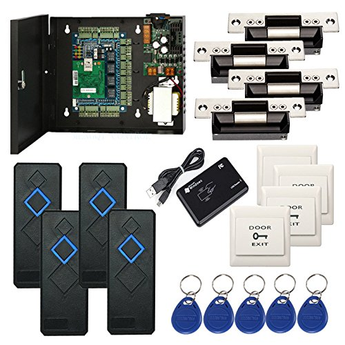 4 Doors ANSI Standard North American Strike Lock IP Based Access Control Security Systems Kit with RFID Reader Push to Exit Button Key Fobs