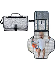 Portable Nappy Changing Mat - Waterproof Change Mat with Clutch - Travel Changing Pad Organizer - Baby Changing Kit with Bonus Loop for Toys - BPA Free
