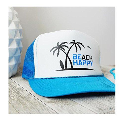 My Word Swag Beach Happy (Be Happy) Summer Mesh Trucker Snap Back Hat (Neon Blue/White Hat)