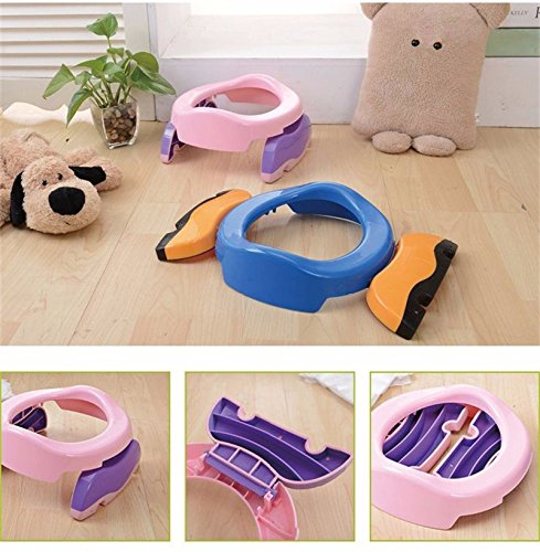Baby Potty Training 2 in 1 Toilet Training seat & Seat Cover Foldable Travel Potties Pink Color for Girl age 2 years and Up to 60lbs