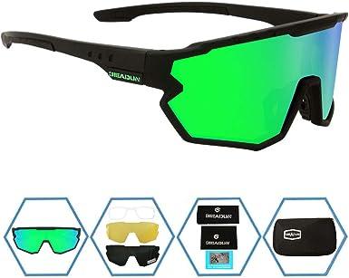 GIEADUN Deportivas Gafas de Sol polarizadas de Protección UV400 Ciclismo Gafas con 5 Lentes Intercambiables para Ciclismo, Pesca, esquí de Béisbol, Running, Golf: Amazon.es: Deportes y aire libre