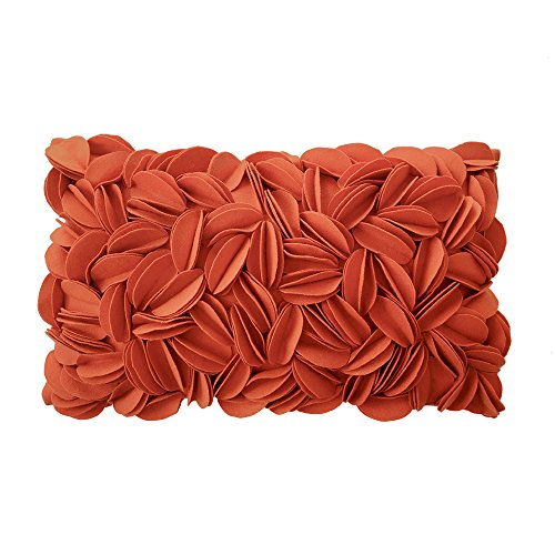 KingRose Handmade 3D Floral Decorative Throw Pillow Case Solid Wool Cushion Cover 12 x 20 Inches Orange ()
