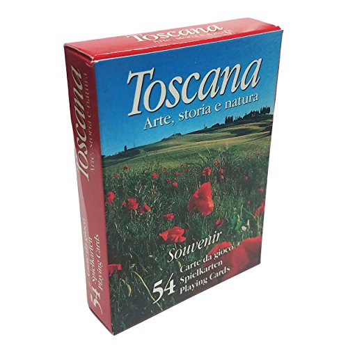 Italy Tuscany Toscano Italian - Tuscany Toscana Souvenir Tourist Images Deck 54 Poker Playing Cards Modiano Red