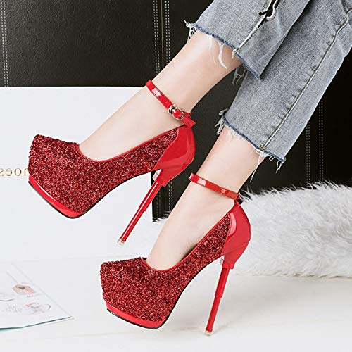 fashionable patchwork buckle princess word waterproof table pointed One thin 14cm single shoes Black sequins LBTSQ shoes heeled high shoes heel q1wBE