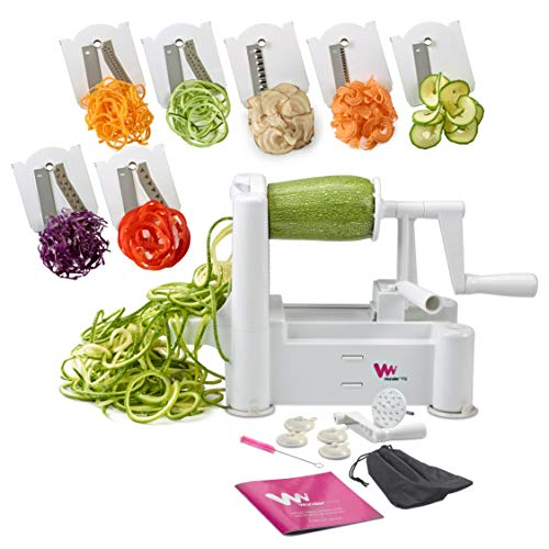 (WonderVeg Perfect Vegetable Slicer and Spiralizer with 7-Stainless Steel Blades, White)