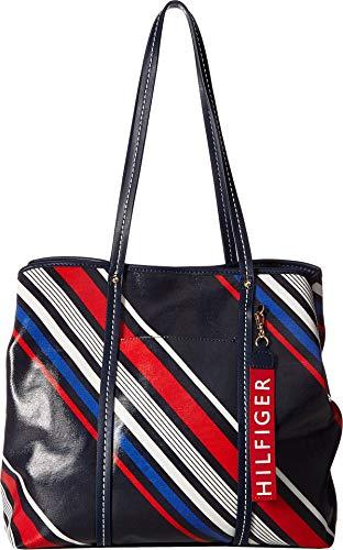 Tommy Hilfiger Women's Diagonal Stripe Roma Tote Navy/Multi One Size - Ladies Diagonal Stripes