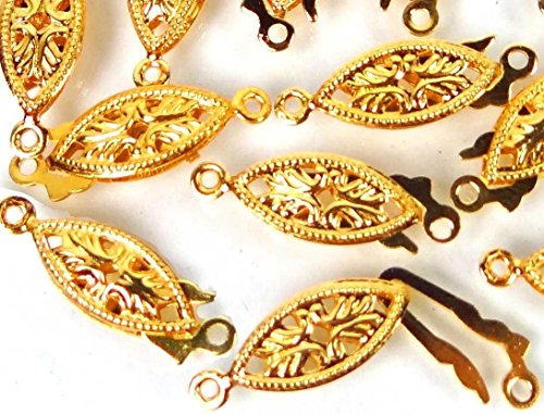 OutletBestSelling Charm Bracelet 25 Gold Plated Brass Fish Hook Clasps Filigree Horse Eye Oval Fishhook 20x6mm
