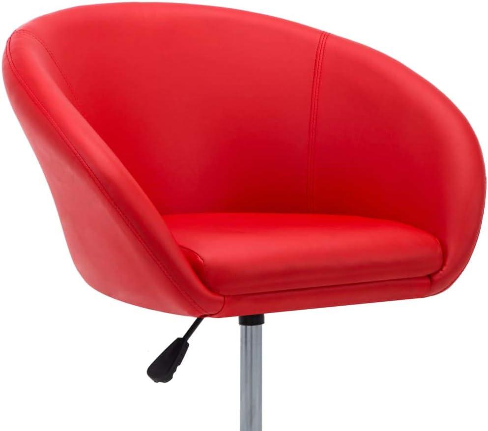 Tidyard Chaise de Salle à Manger/Chaise de Bureau/Chaise de Bar (Rotation à 360 degrés) en Similicuir Rouge 67,5X58,5X87 cm Rouge