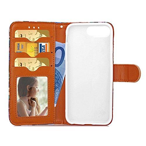 EKINHUI Case Cover iPhone 7 plus Argument, Blütenfarbe Malerei Hülle Mappen-Standplatz-Fall-TPU-Abdeckung mit Foto Fenster-Karte Bargeld Slots PU-Leder Etui für Apple iPhone7 plus ( Color : 2 )