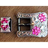 HILASON CRYSTAL FUSCHIA CRYSTALS FLORAL DESIGN COPPER FINISH BUCKLE SET BELT HEADSTALL