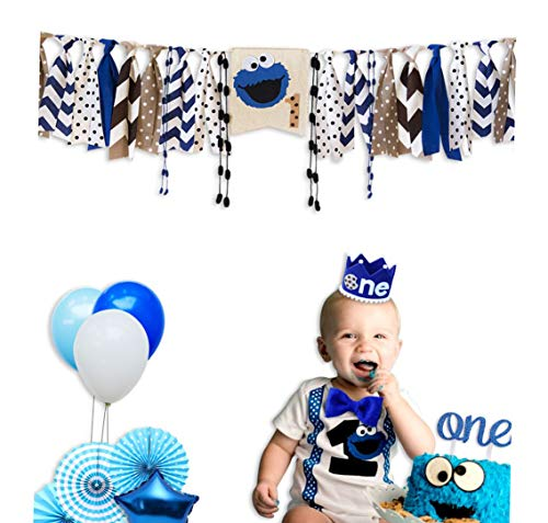 E&L Cookie Monster 3 in 1 Baby Boy High Chair Decorations Set, High Chair Banner & One Adventure Themed Crown & One Cake Topper, for Baby Boy Birthday Party Supplies -