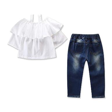97e2ac298a6 Amazon.com: HANANei 2PCS Toddler Kids Baby Girls Outfits Off Shoulder T-Shirt  Tops+Denim Pants Jeans Set: Clothing