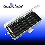 DreamStitch M Style Large Bobbins Storage Case and Saver Holds 25 Bobbins Box Organizer Includes 1 Automatic Needle Threader and Wire Bow Needle Threader - BB-25-M-ANT