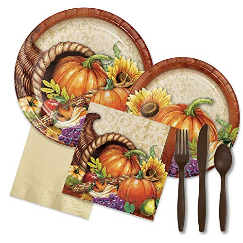 FAKKOS Design Thanksgiving Dinner Harvest Place Settings - Pates, Napkins, Forks, Spoons, Knives (16 Guests) -
