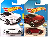 Hot Wheels 2017 New Casting Red Model X #196 Factory Fresh Tesla Model S #175 White 2 car bundle in Protective Cases