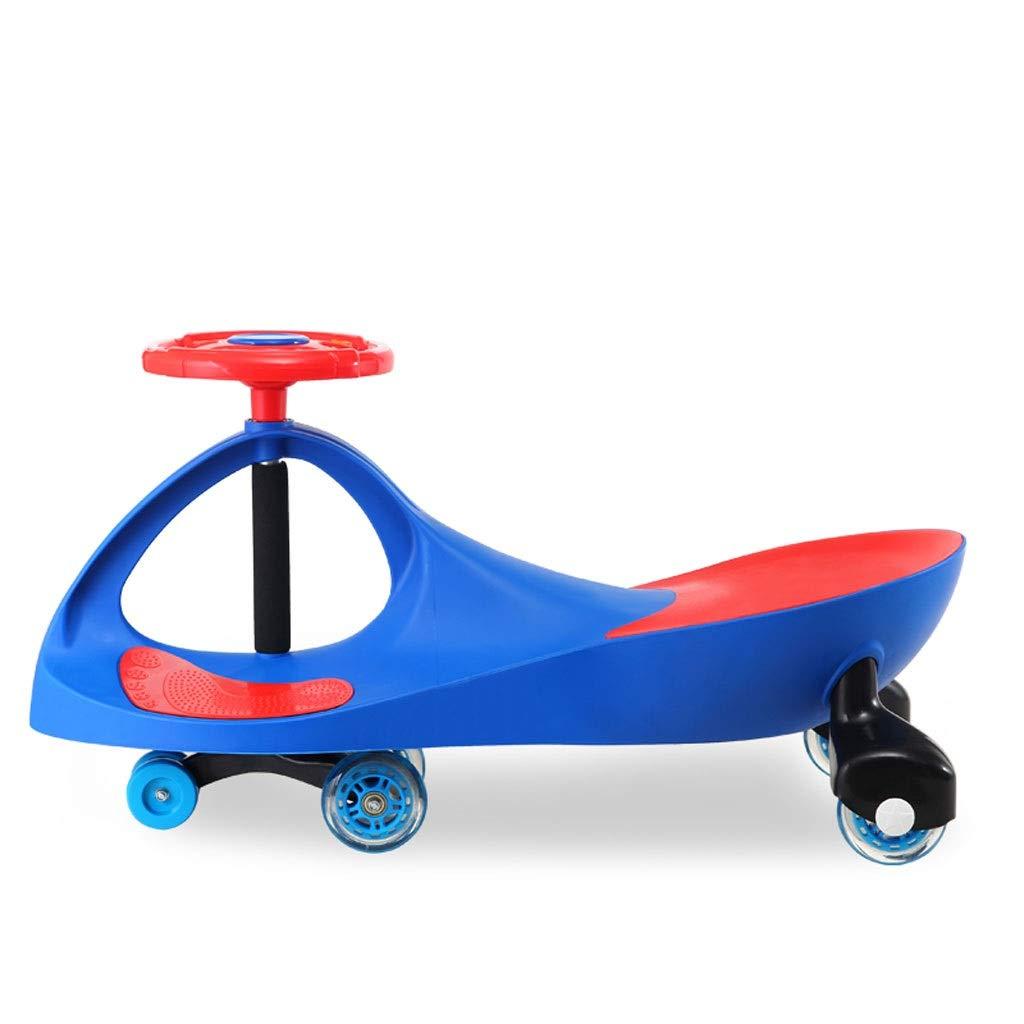 子供のツイスト車、おもちゃスイングウィグルジャイロスイベルスクーター楽しいギフトキッズ音楽ステアリングホイール屋内屋外用サイレントホイール  青 B07R871WXM