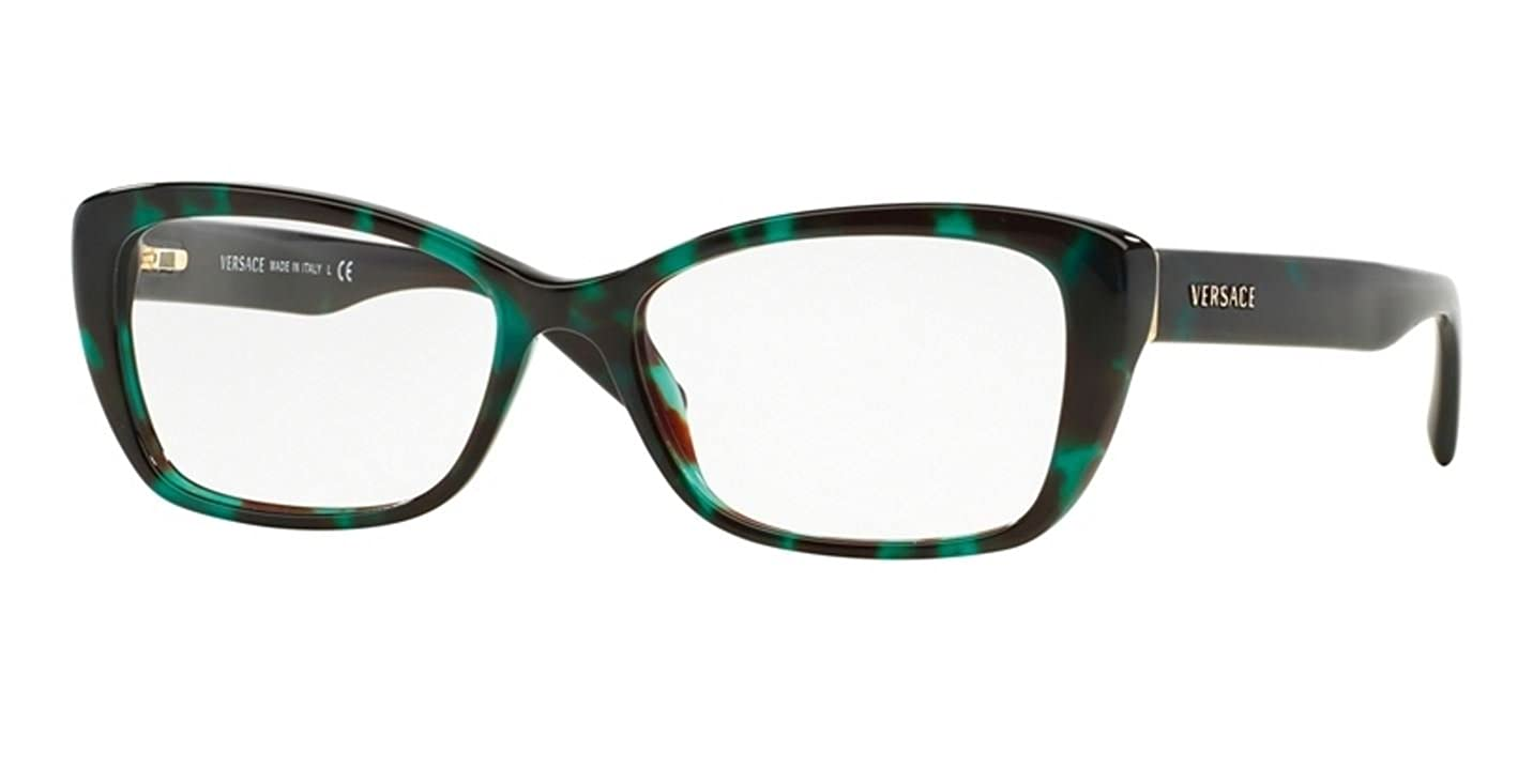 395113ce1e Amazon.com  Versace VE3201 Eyeglass Frames 5076-52 - Green Havana  VE3201-5076-52  Clothing