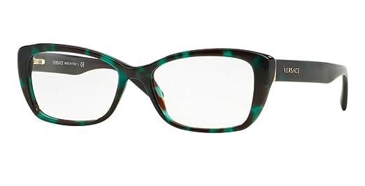 Amazon.com: Versace VE3201 Eyeglass Frames 5076-52 - Green Havana ...