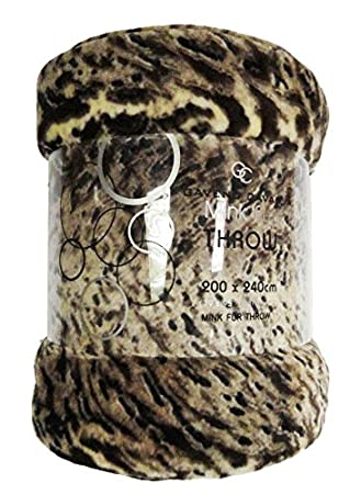Faux Fur Throw Animal Blanket Double Size For Bed Sofa 2 Seater Animal Skin Print Soft Warm Large Luxury Mink 150 x 200 Cm Throw Brown Skin