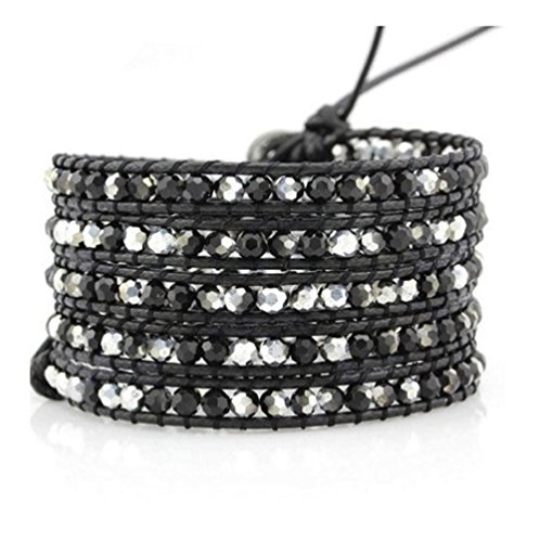 black-and-silver-crystals-wrap-bracelet-genuine-black-leather-handmade-5-multilayer-4mm-beads-woven-