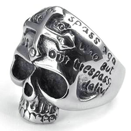Stainless Steel Ring for Men, Dead Head Ring Gothic Black Band Silver Band 26MM Size 9 (Boucheron Costume Jewellery)