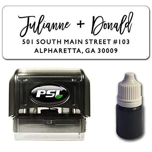 Edgy Script Return Address Stamp, Self Inking - Bundle with Custom Stamp, Extra Refill Ink and 100 Matching Adhesive Address Label Stickers Brush Address Labels