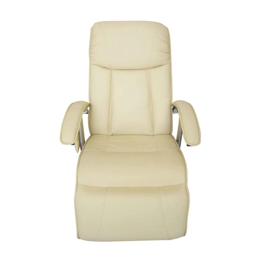 mewmewcat Poltrona Elettrica Massaggiante in Pelle Artificiale Bianco Crema