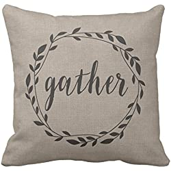 Rustic Gather Script with Vine Wreath & Polka Dots Decorative Pillow Case with Invisible Zipper Canvas Throw Pillow Cover for Sofa and Couch 16 x 16