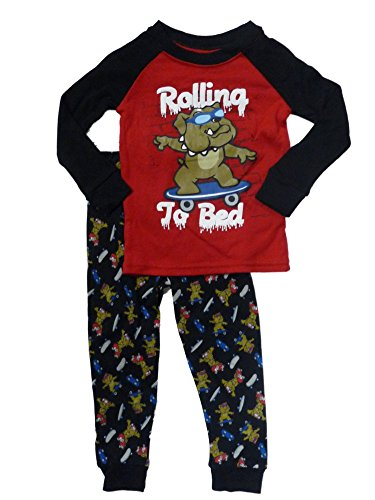 Faded Glory Rolling to Bed Infant Toddler Boy Sleepwear Dog Skate Pajamas 18m Red ()