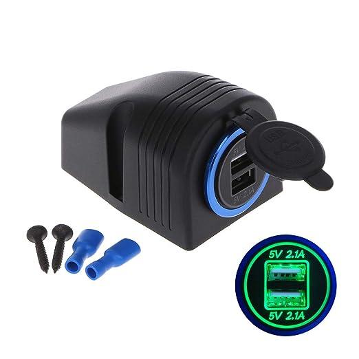 JENOR 12 V 24 V a 5 V 2.1 A Dual USB Auto Cargador Fuente de ...