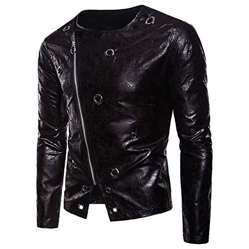Gold Nike Blazers (Moserian Men's Autumn Winter Long Sleeve Dark Grain Diagonal Zipper Leather Coat)