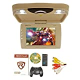 Rockville RVD13HD-BG BEIGE 13'' Flip Down Car Monitor w DVD/HDMI/USB/SD/Games Tan