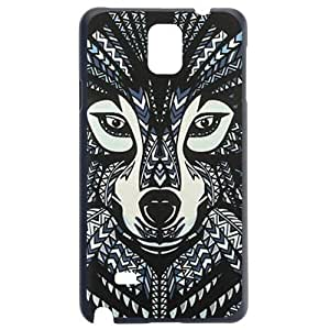 Fashion Personality Vintage Pattern Aztec Animal Wolf Dog Hard Back Plastic Case Cover Skin Protector For Samsung Galaxy Note4 N9100 by Alexism