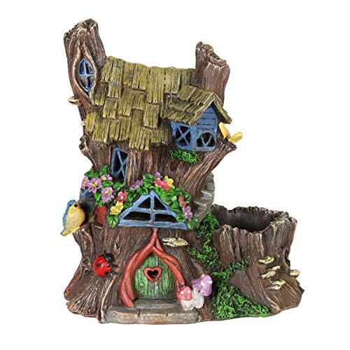 Exhart Gardening Gifts - Fairy House Flower Pot/Planter w/Solar Garden Lights - Outdoor Use Fairy Themed Garden Décor, Weather Resistant Resin Statues ()