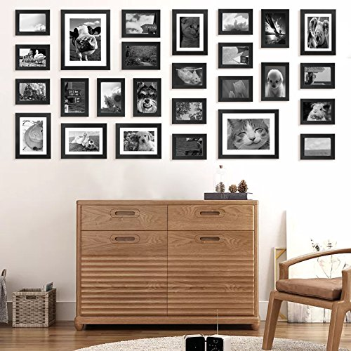 - Voilamart Picture Frames Set of 26, Multi Pack Photo Frame Set Wall Gallery Kit - Display Two 8x10 in, Five 5x7 in, Nineteen 4x6 in, with Wall Template and Hanging Hardware, Black