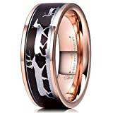 Three Keys Jewelry 8mm Rose Gold Tungsten Wedding Ring with Ebony Black Sandalwood Antler Deer Family Inlay Hunting Ring Wedding Band Engagement Ring Size 10.5