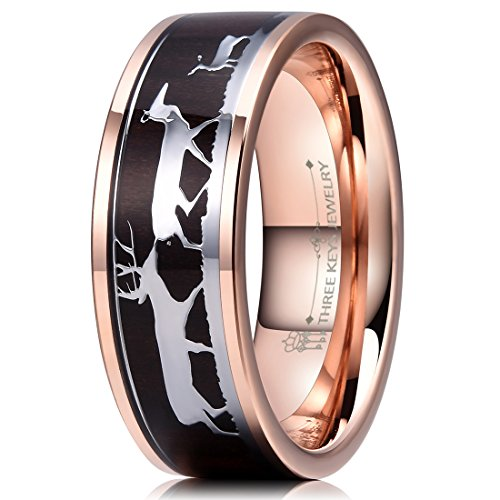 Three Keys Jewelry 8mm Rose Gold Tungsten Wedding Ring with Ebony Black Sandalwood Antler Deer Family Inlay Hunting Ring Wedding Band Engagement Ring Size 7