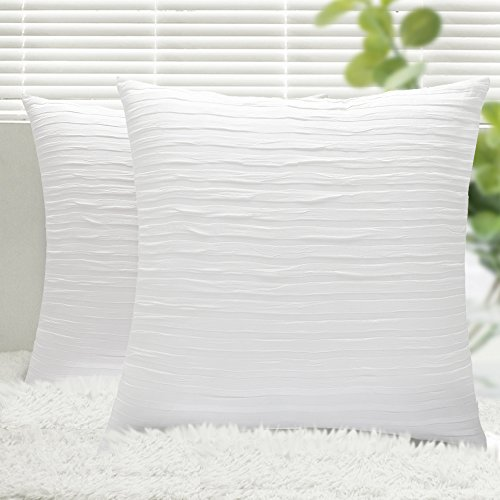 Throw Pillow Covers, Yeadous 2 Pack Jacquard Striped 100% Cotton Cushion Cover, Original Design Soft Throw Pillow Case, Best Decorative Pillow Covers for Sofa Couch BedHome Decor(18x18 inches, White) by Yeadous