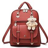 Women Girl Fashion Synthetic Leather School Shoulder Bag Backpack Travel Rucksack (Wine red)