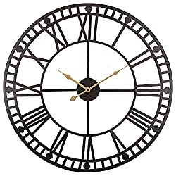 Roman Round Clock, Timelike Handmade Large Wall Clock Wrought Metal Wall Art Hanging Decorative Wall Sculpture Decor (60CM)