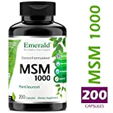 MSM 1,000 mg - Joint Support for Aches & Pains, Anti-Inflammatory, Stress Relief, Supports Digestive System, Allergy Relief - Emerald Laboratories (Ultra Botanicals) - 200 Capsules