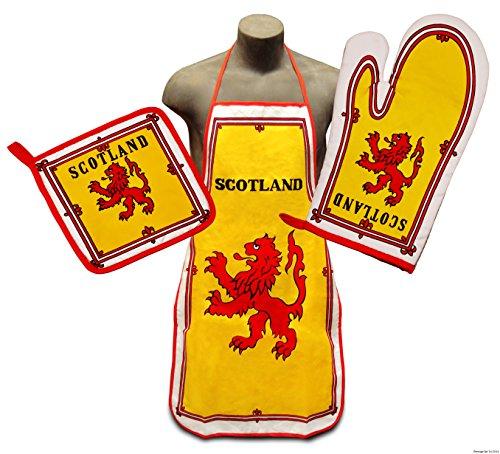 Royal Standard of Scotland Flag Kitchen & BBQ Set *New* w/ Apron, Oven-mitt & Pot-holder Scottish
