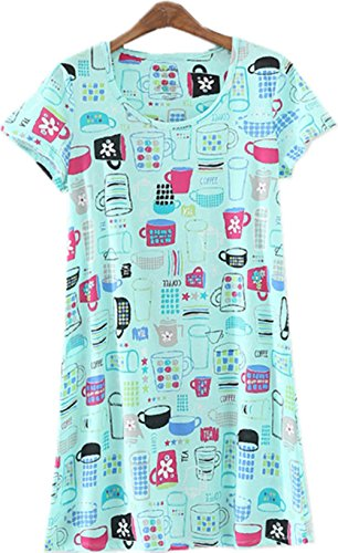 Luckytung Women's Nightgown Cotton Print Nightskirt Soft Tee Shirt Sleepwear CSQ01-Bluecups-L