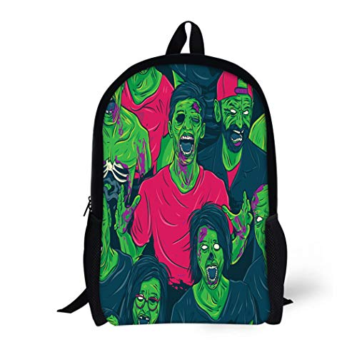 Pinbeam Backpack Travel Daypack Colorful Angry Zombie Walking Out Blood Brain Cannibal Waterproof School -