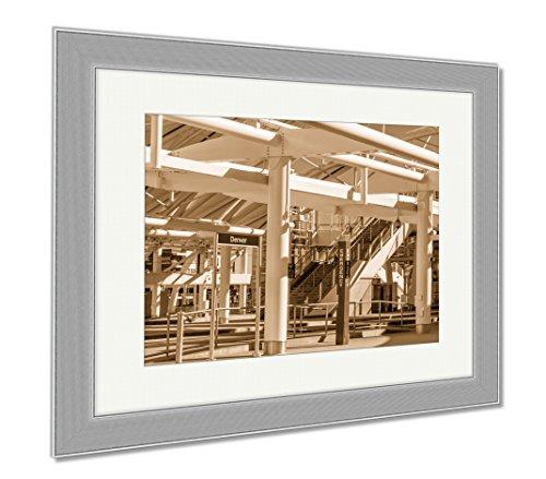 Ashley Framed Prints Denver Union Station Train Depot, Contemporary Decoration, Sepia, 26x30 (frame size), Silver Frame, - Station Denver Shops Union