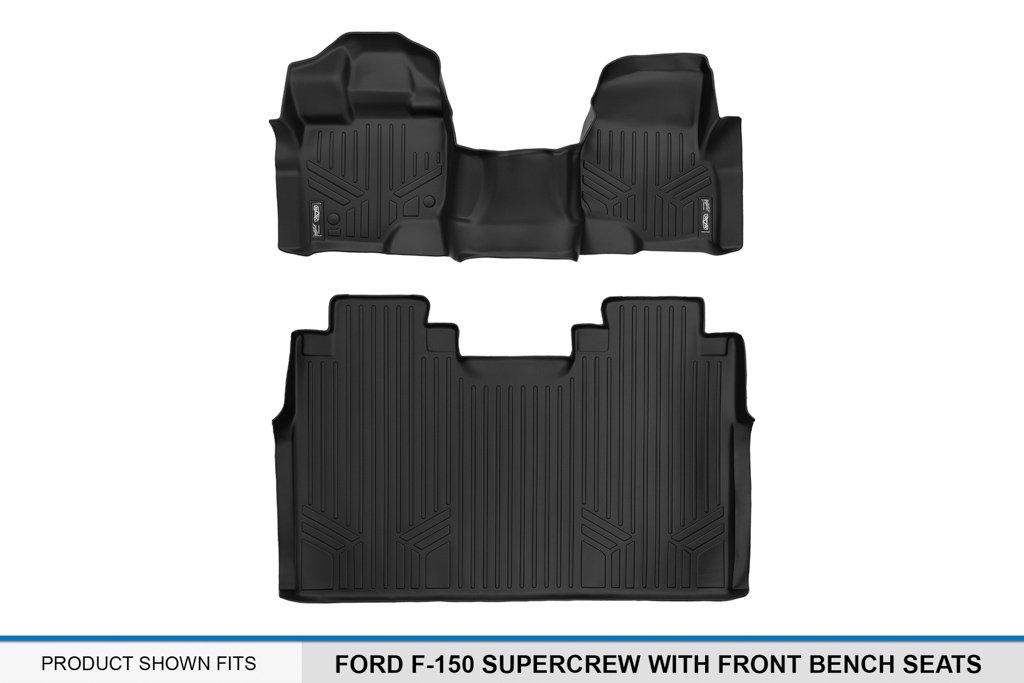 MAX LINER A0212/B0188 Custom Fit Floor Mats 2 Liner Set Black for 2015-2019 Ford F-150 SuperCrew Cab with 1st Row Bench Seat by MAX LINER (Image #5)